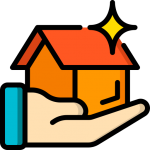 Customers page depicting a home resting inside a customer's hand